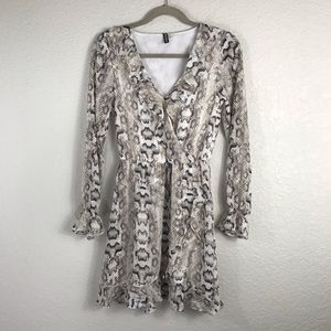 H&M Divided Wrap Animal Print Dress 2 EUC